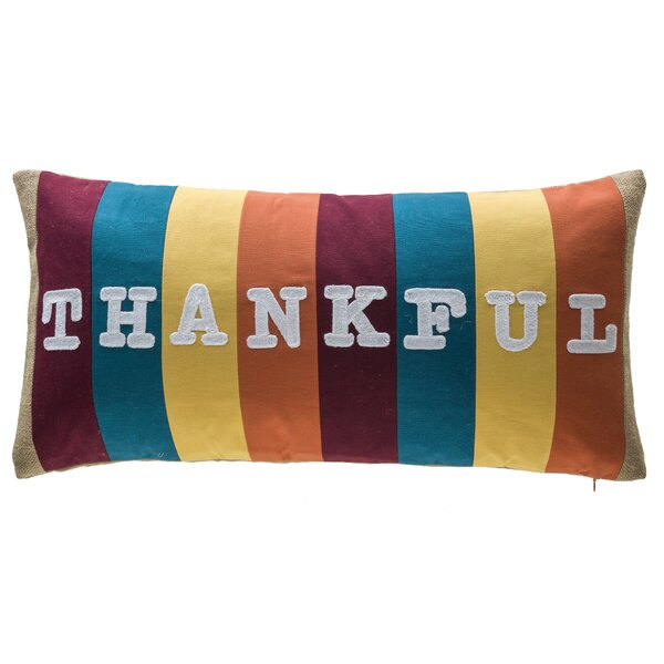 Thankful Stripe Patchwork 100% Cotton Lumbar Pillow by 14 Karat Home Inc.